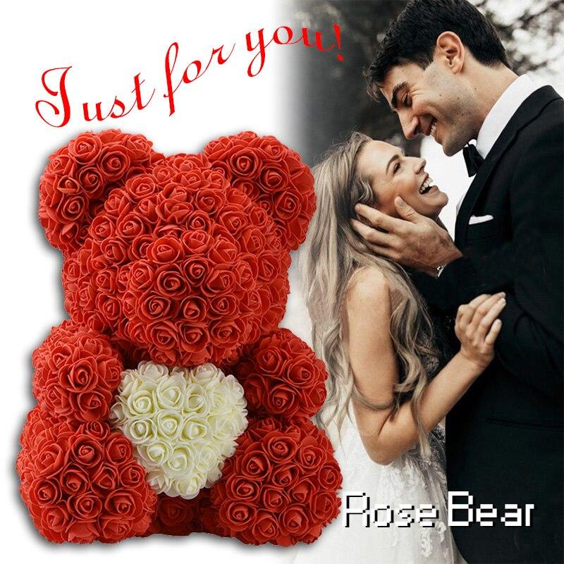 2019 DropShipping 40 cm com Coração Vermelho Grande Teddi Urso Flor Rosa Artificial Decoração de Natal Presentes para Presente Mulheres Valentines