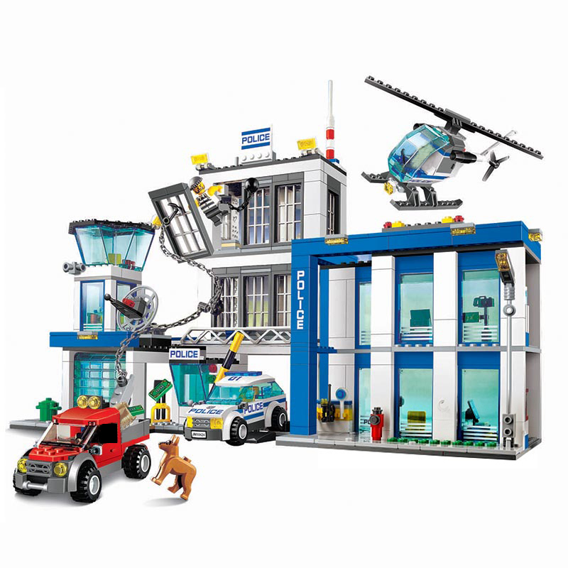10424 City Police Station Motorbike Helicopter Jail Cell Model Building Blocks Kit City 60047 Educational Toys For Children Gift bela 10424 890pcs city police station building blocks action figures set helicopter jail cell compatible