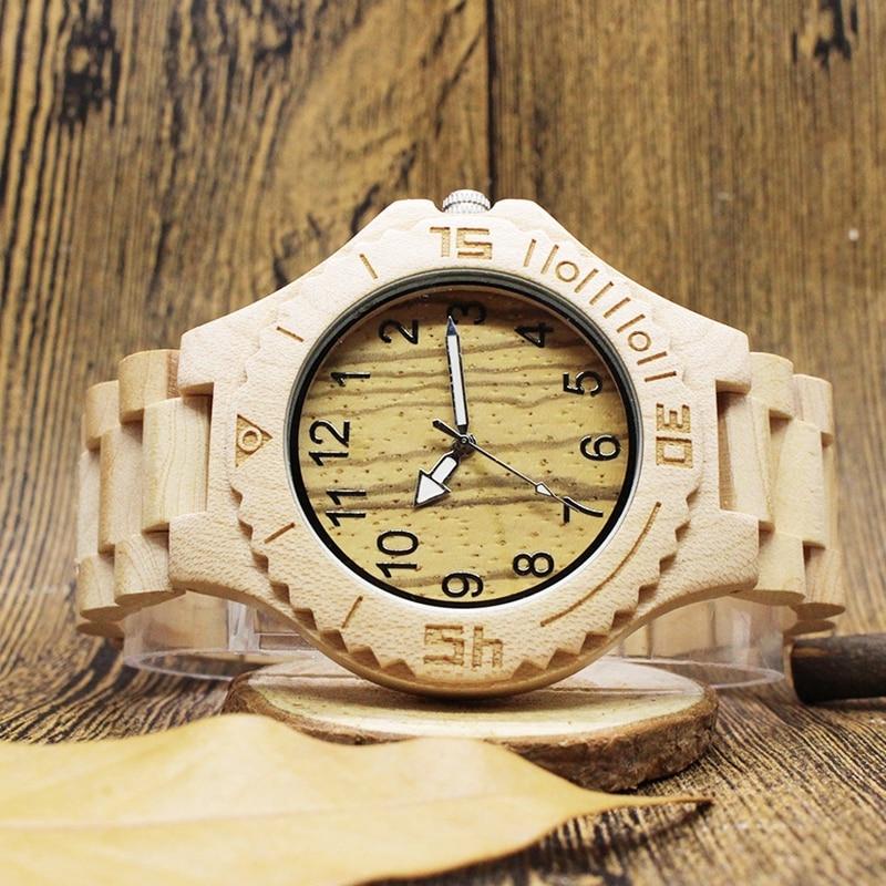 Creative Full Natural Wooden Watch Men relogio masculino Wood Fashion Men Women Wooden Bangle Quartz Wrist Watch relogio