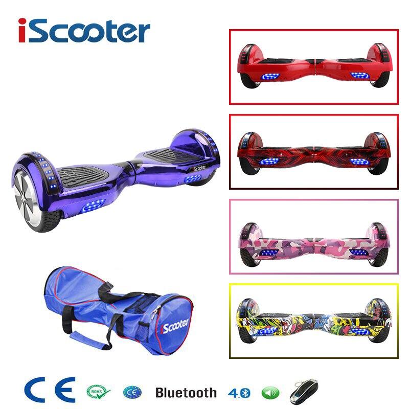IScooter 6.5 pollice 2 Ruote Bluetooth di Smart Elettrica Hoverboards con la Luce del LED Borsa Per Il TrasportoIScooter 6.5 pollice 2 Ruote Bluetooth di Smart Elettrica Hoverboards con la Luce del LED Borsa Per Il Trasporto