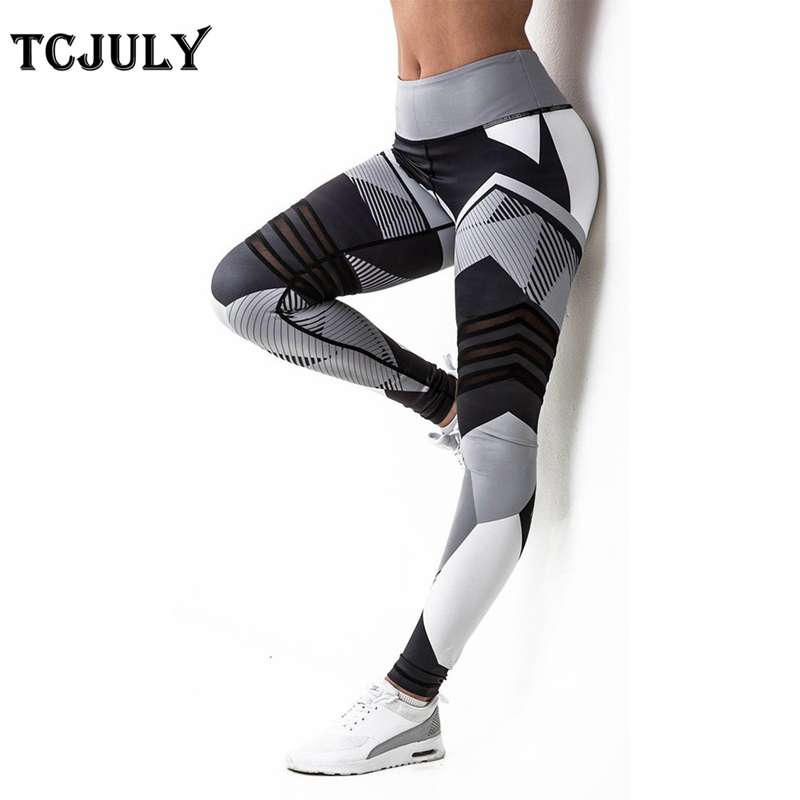 TCJULY Wholesale 3d Digital Printed Geometric Fitness Leggings For Women Skinny Push Up Workout Pants Stretchy Slim Flex Leggins