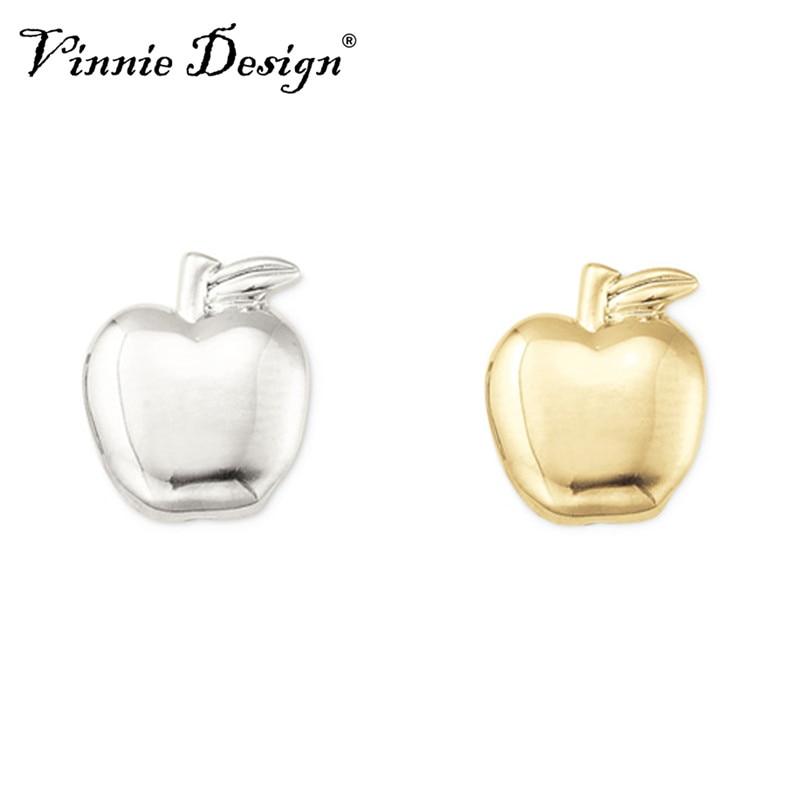 Vinnie Design Jewelry Apple Slide Charms fit on Keepers Bracelets Keys for Wrap Bracelet 10pcs/lot