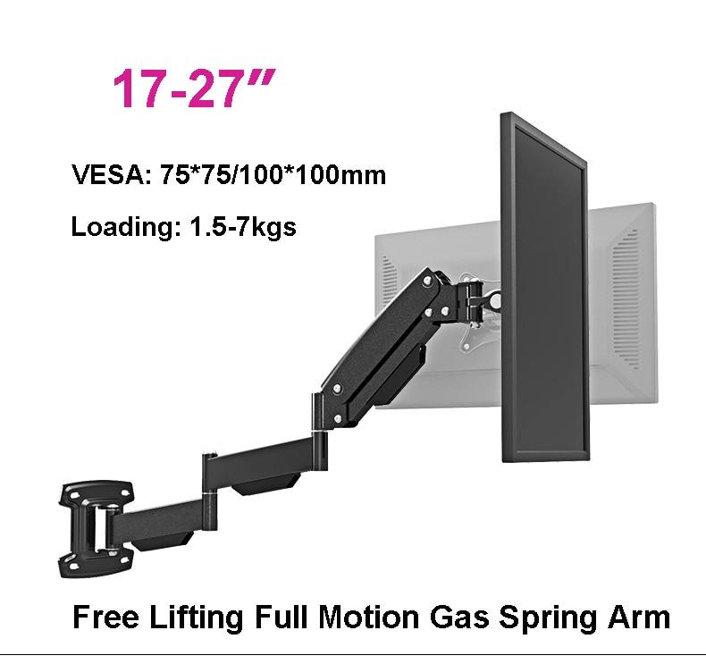 Ultra-long Gas Spring Arm 17-27 Monitor Holder Full Motion LCD TV Mount Loading 1.5-7kgs VESA 75/100mm aluminum alloy desktop 10 24 inch lcd monitor holder full motion adjustable monitor mount long arm bracket vesa 50 75 100mm 8kgs