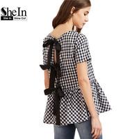 SheIn Women Short Sleeve Blouse Black And White Checkered Bow Split Back Peplum Top Plaid Womens