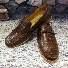 2018 Новый 100% натуральная crocodil кожи живота для мужчин в деловом стиле Роскошные качественные мужские модные туфли high end кожи коричневый
