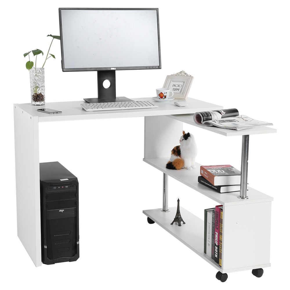 Wondrous 360 Degree Rotatable Adjustable Corner Computer Office Desk With Book Shelves Home Laptop Table White Black Optional Download Free Architecture Designs Estepponolmadebymaigaardcom