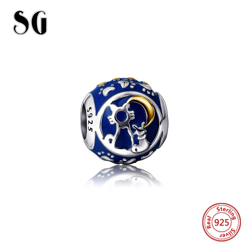 charm 925 Sterling Silver Cat and Moon Charms beads With Soft Blue Enamel Beads Fit Authentic pandora Bracelets Jewelry Making