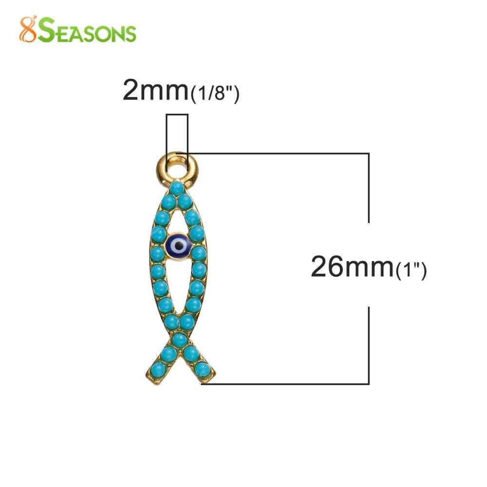 8季節ボヘミアチャーム魚ペンダントゴールドカラーグリーンブルーアイの悪樹脂カボション作成宝石の石26 × 7ミリメートル、5ピース