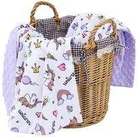 Muslinlife 2018 New Arrival Baby Blanket Double sided Minky Dot Kids Blanket Unicorn Printed Blanket Soft Flannel Blanket 70*100
