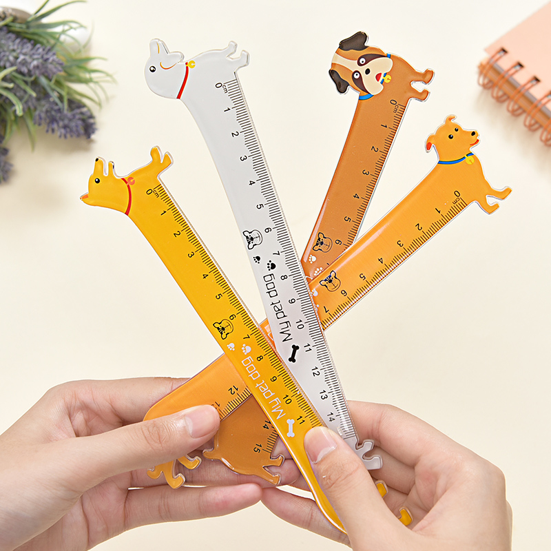 5pcs/lot Creative Dog Ruler Cartoon Cute Puppy Modelling 15 Cm Clear Scale Accurate Student Learning Stationery