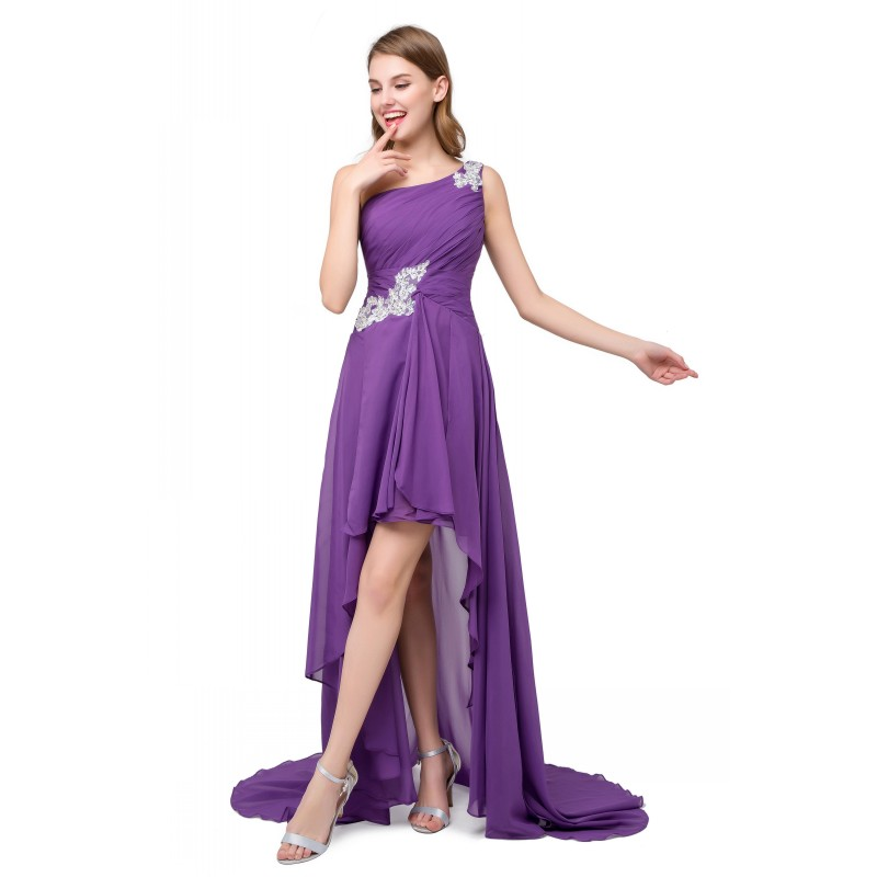 Purple Green High Low Prom Dress Chiffon Spring Summer Short Front ...