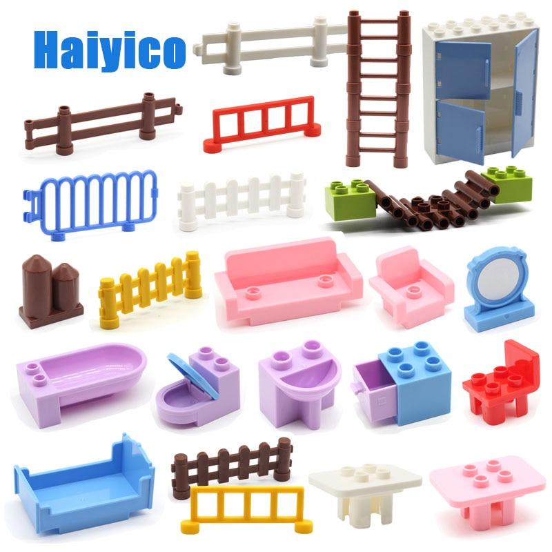 Большие строительные блоки стол стул забор аксессуары наборы совместимы Duplo классические кирпичи мебель дом девушка игрушки подарок для де...