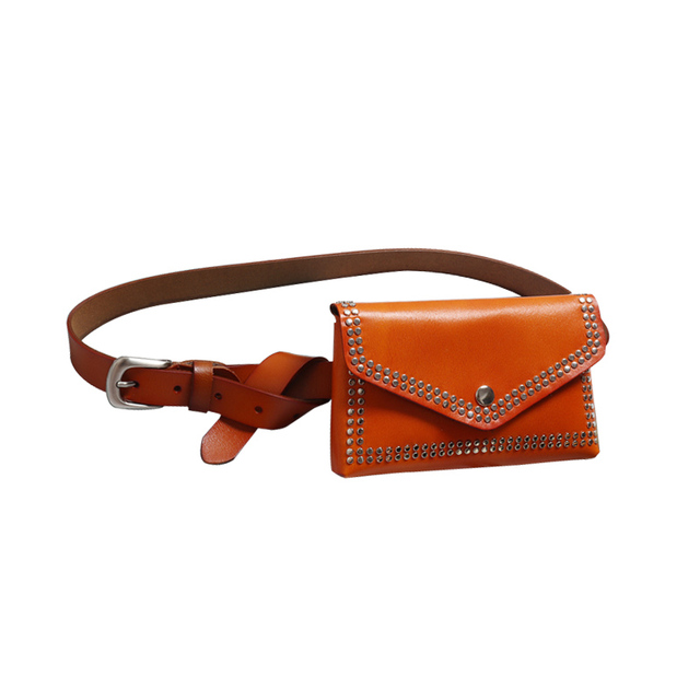 Fashion Design Women Genuine Leather Waist Bag Women's Mobile Phone Bags Rivet Punk Small Funny Pack Female Cow Leather Belt Bag