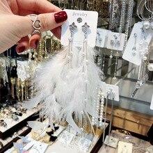 Bohemian Long Feather Earring for Women Big Statement Earrings tassel rhinestone drop Earrings dangle earing Ethnic Jewelry цены