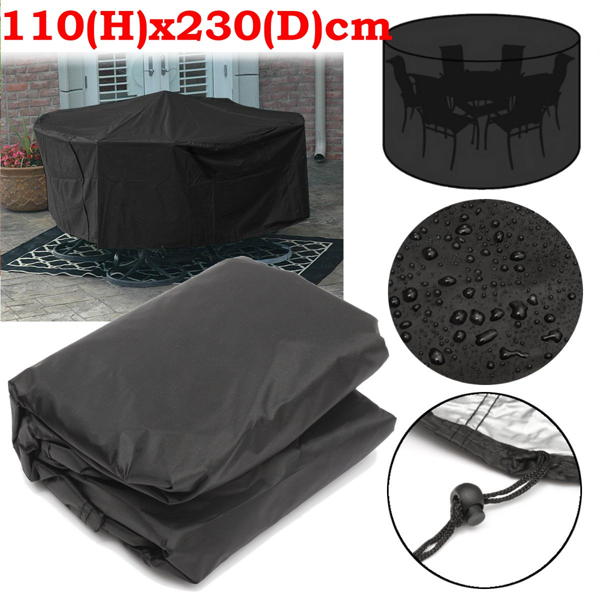 Furniture Dust Cover Fabric: 110x230cm Round Outdoor Garden Patio Furniture Cover