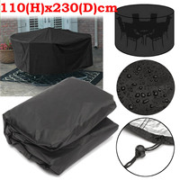 110x230cm Round Outdoor Garden Patio Furniture Cover Waterproof Rain Dust Protective Cover Cloth For 6 Seater Table Set