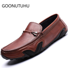2019 new fashion mens shoes casual genuine leather loafers man classic brown black slip on shoe flats driving for men
