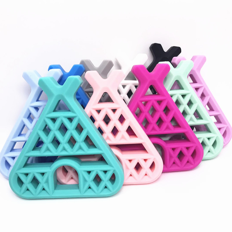20 PCS Baby Silicone Teepee Teether Food Grade DIY Teething Necklace Nursing Accessories Woodland Theme Tipi