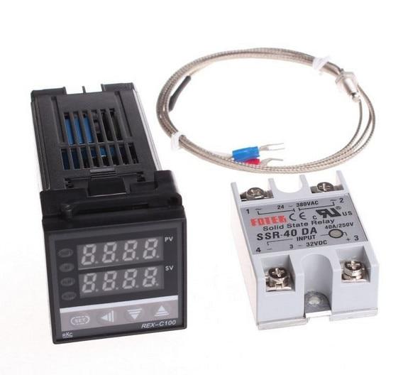 Digital PID Temperature Controller REX-C100 + max.40A SSR + K Thermocouple Probe