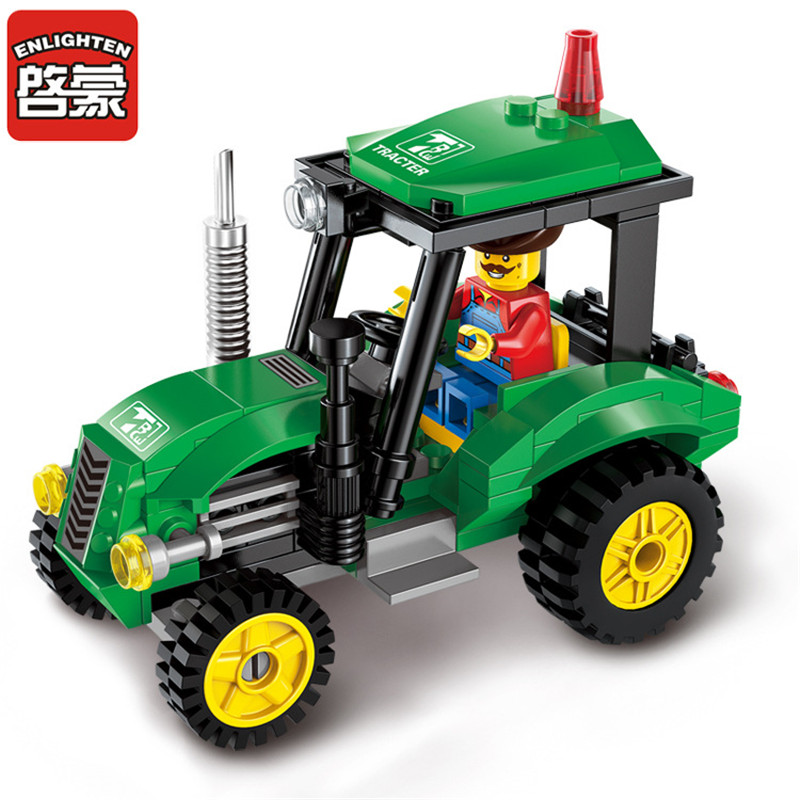 ENLIGHTEN 112pcs City Tractor Assembled Building Blocks Toys for Children Educational Blocks Bricks Sets Kids Boys Birthday Gift lepin 02012 city deepwater exploration vessel 60095 building blocks policeman toys children compatible with lego gift kid sets