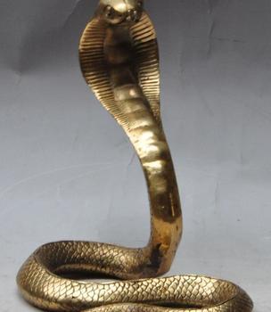"7"" chinese fengshui brass Wild animal KING COBRA King snake statue Sculpture"