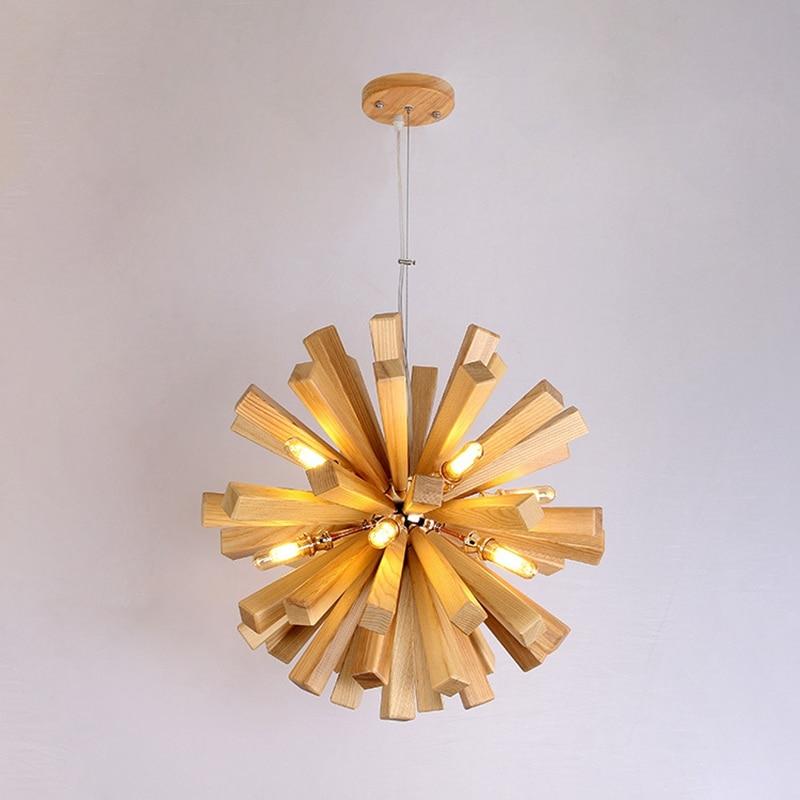 LukLoy деревянный подвесной светильник LED Одуванчик Подвесной светильник современный подвесной потолочный светильник Лофт скандинавский про