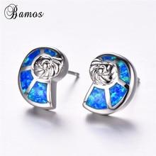 Bamos White/Blue Opal Stud Earring Cute Ocean Conch Earrings