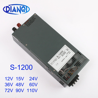 DIANQI Switching power supply for LED Strip light AC DC S 1200W 12V S 1200W 36V 15V 24V 48V 60V 72V 90V 110V single output
