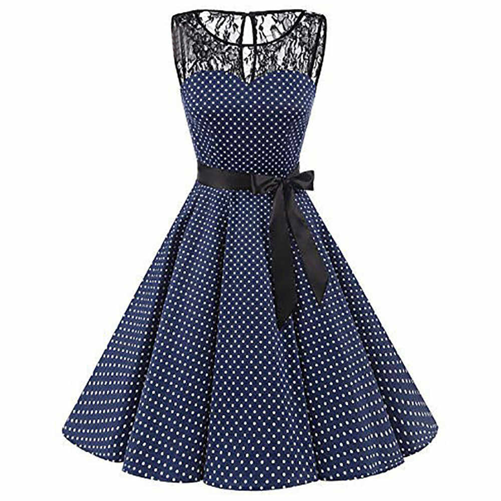 Plus Size Summer Women Midi Dress 2018 Gothic Polka Dot Print Sleeveless Ladies Lace Dresses Vintage Party Dress Clothes