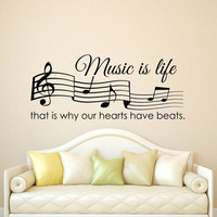 Music Is Life That Is Why Our Hearts Have Beats Wall Stickers Musical Notes Living Room Home Decoration Wall Decals Adhesive