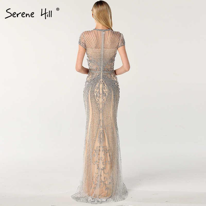 Dalam Saham Biru Tanpa Lengan Mewah Gaun Malam Penuh Diamond Putri Duyung Gaun Malam 2020 Tenang Hill Plus Ukuran LA60742