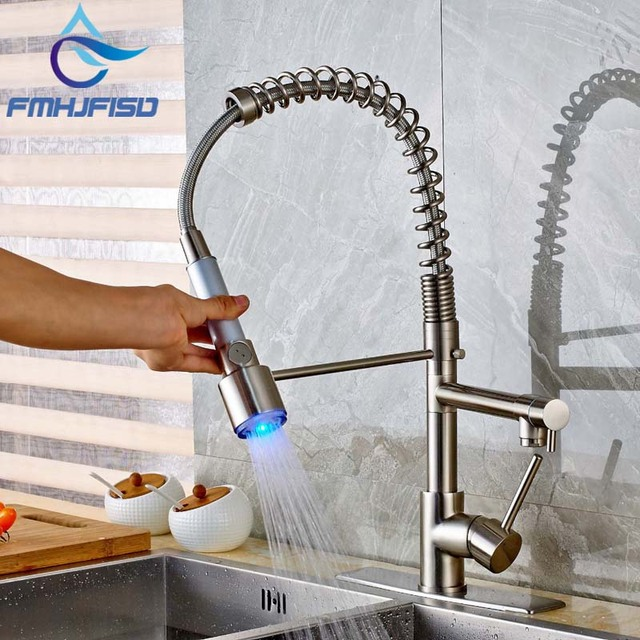 Deck Mounted Brushed Nickel Kitchen Faucet Spring Dual Spout Vessel Sink Mixer Tap With Led Light