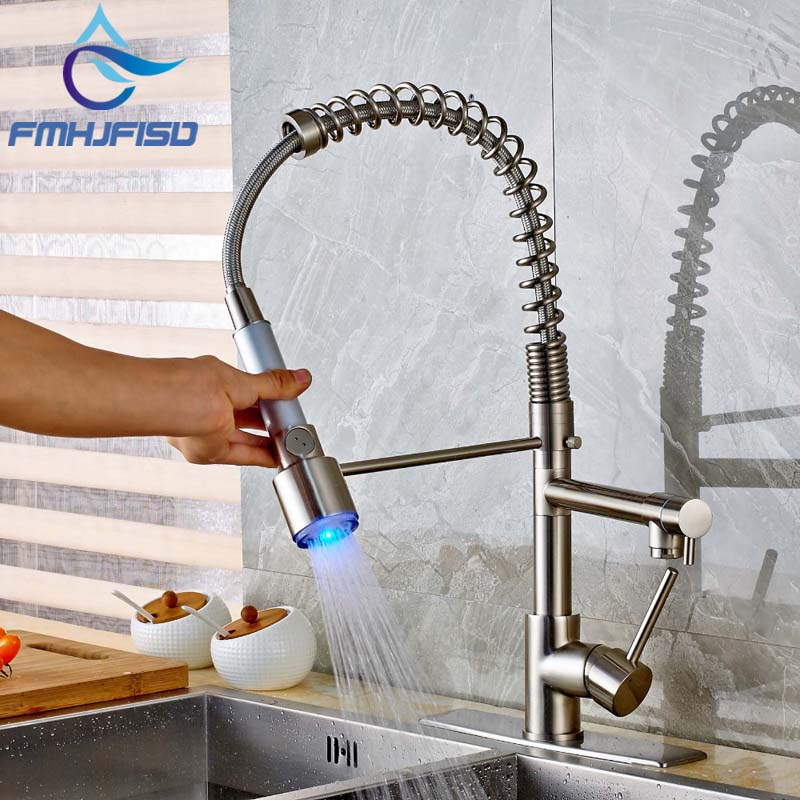 Deck Mounted Brushed Nickel Kitchen Faucet Spring Dual Spout Vessel Sink Mixer Tap with LED Light Sprayer