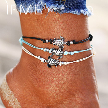 Boho Multiple Layers Anklets for Women Fashion Vintage Turtle Pendant Rope Anklet