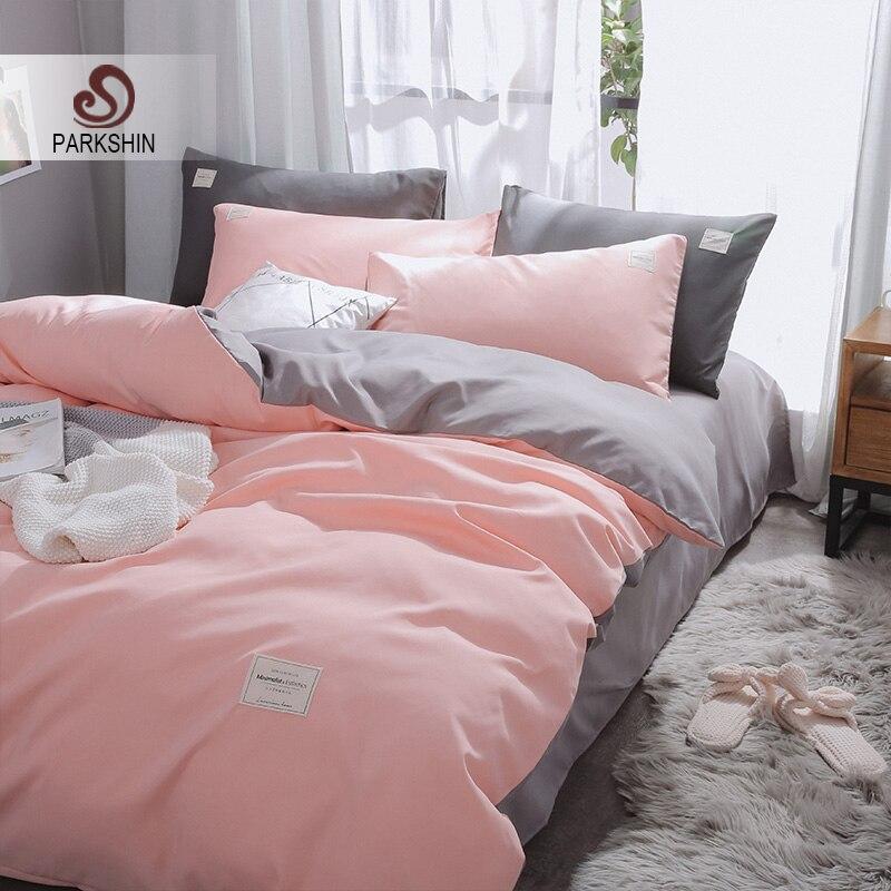 Parkshin Pink Duvet Cover Gray Flat Sheet Pillowcase 100% Cotton Bed Linen Set Double Bedspread Adult Solid Color Bedclothes
