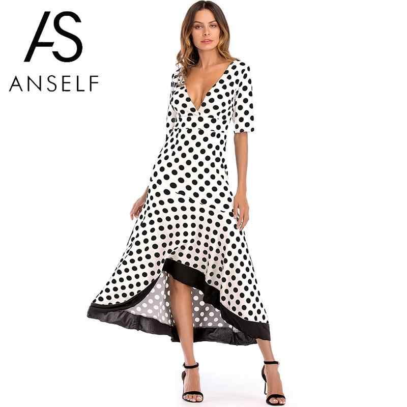 Anself Сексуальное Женское Макси платье в горошек с глубоким v-образным вырезом с рукавом средней длины асимметричное летнее платье с оборками тонкое длинное платье белый/черный