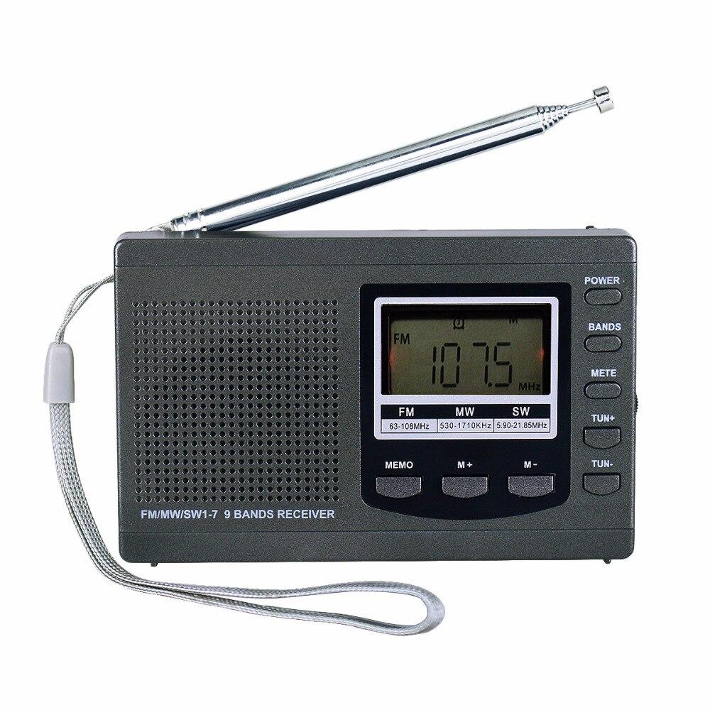 Tivdio portable Radios DSP emergencia mini radiodifusión FM estéreo FM MW SW 9 bandas receptor con despertador digital y4408h
