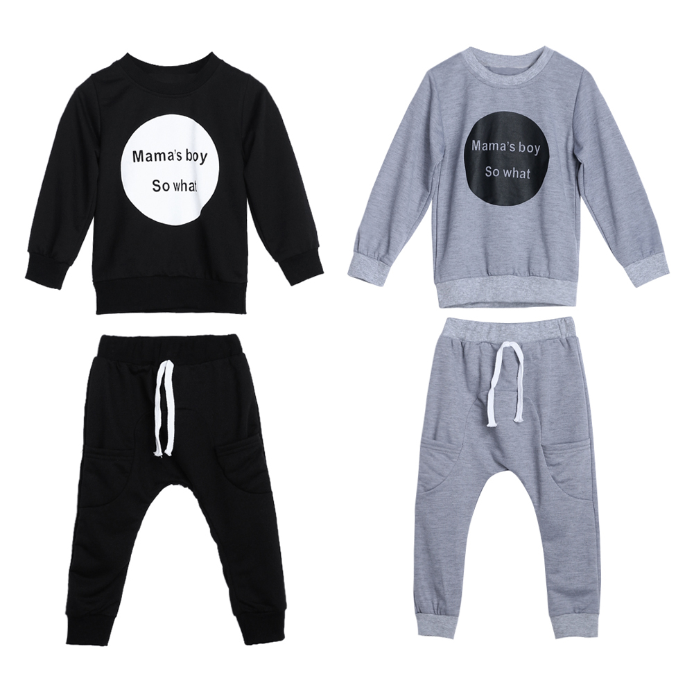 Boys Clothes Winter Haram Pants Circle Print Outfit Long Sleeve Kids Tops Trousers Autumn Child Clothing
