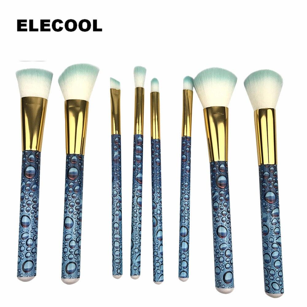 ELECOOL 8pcs/sets Makeup Brush Glitter 3D Water Droplets Blue Eye Shadow Concealer Eyebrow Brush Comestic Tool