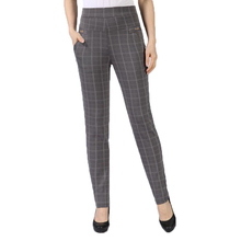 Spring Autumn Woman Casual Pant Navy Blue Black Khaki Gray Trousers Middle Aged Women Plaid Pattern Pants High Waist XL