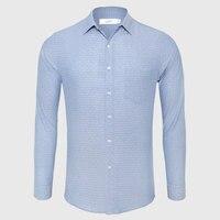 Casual Shirt Men Cotton Linen Dot Button Down Shirt Male Slim Fit Long Sleeve Business
