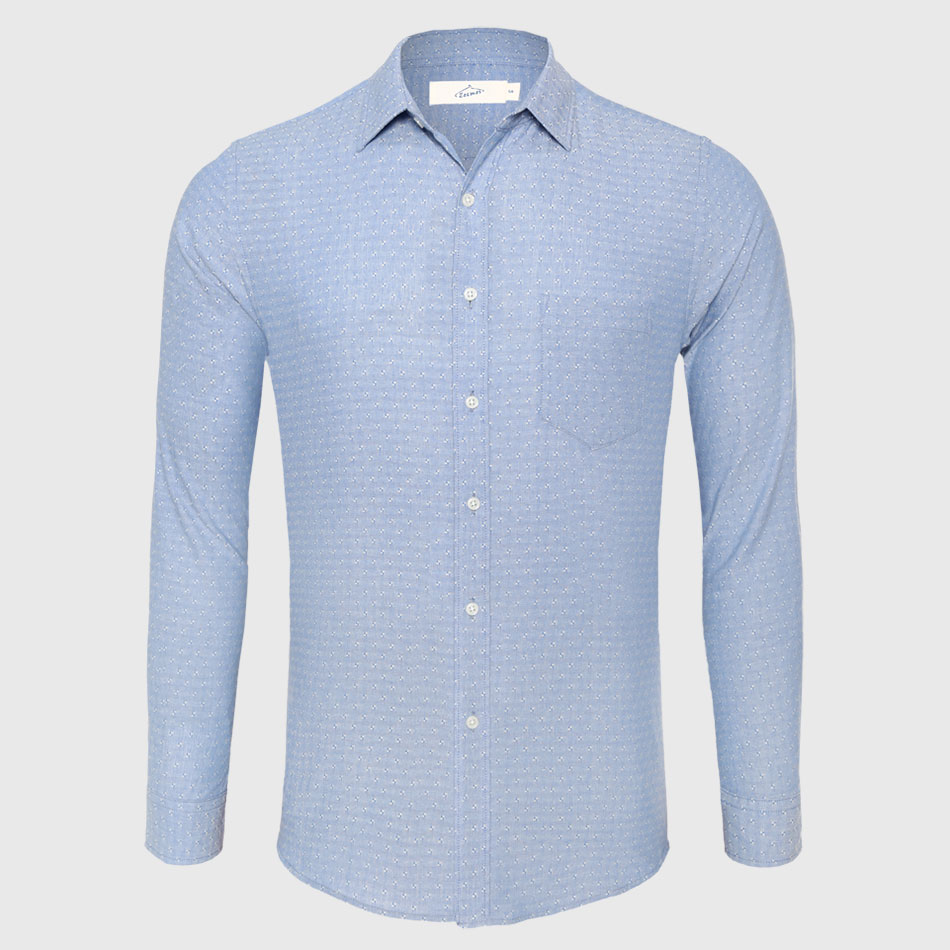 Casual <font><b>Shirt</b></font> <font><b>Men</b></font> Cotton Linen <font><b>Dot</b></font> Button Down <font><b>Shirt</b></font> Male Slim Fit Long Sleeve Business image