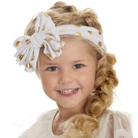 Baby Girls Hair Bands Gold Headband Polka Dots Cotton Headband Girls Knotted Bow Head Wraps Kids Hair Accessories Hot Selling