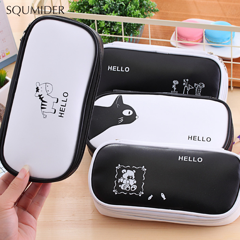 Students Pencil Bag Black And White Bag Simple Cute Animal Pencil Case Large-capacity Pen Box For School Supplies Stationery