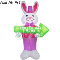 Пасхальное украшение Реплика модель, Надувной розовый кролик с пасхальным яйцом рекламная стрелка для продвижения