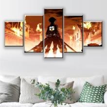 купить Modular Canvas Paintings Wall Art Home Decor HD Prints 5 Pieces Attack on Titan Eren Yeager Pictures Animation Posters Framework по цене 334.12 рублей