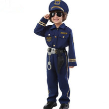 blue police costume for children suit kids chinese uniform boys cosplay clothing halloween