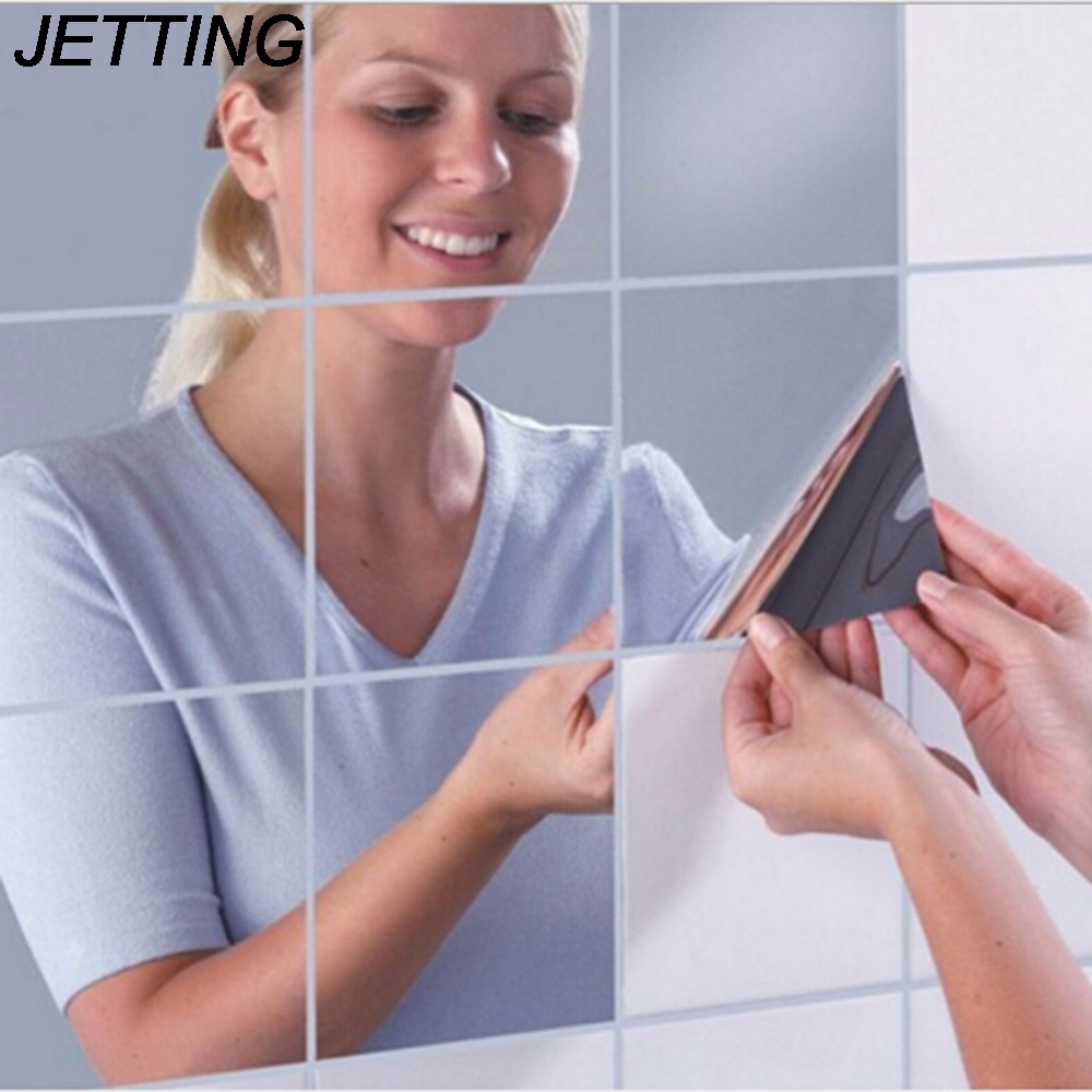 JETTING 9Pcs New Arrival High Quality Square Mirror Tile Wallpapers 3D Decal Home Room Decoration DIY For Living Room Porch