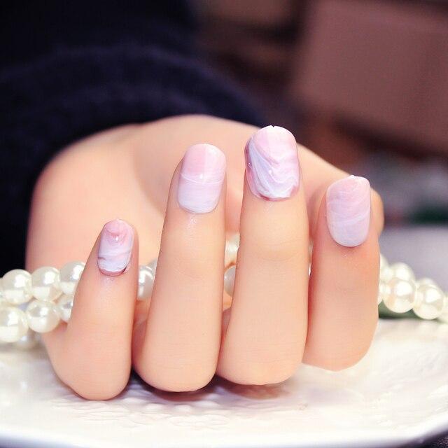 Pink Marble pattern fake nails japanese Cute pure color false nails ...