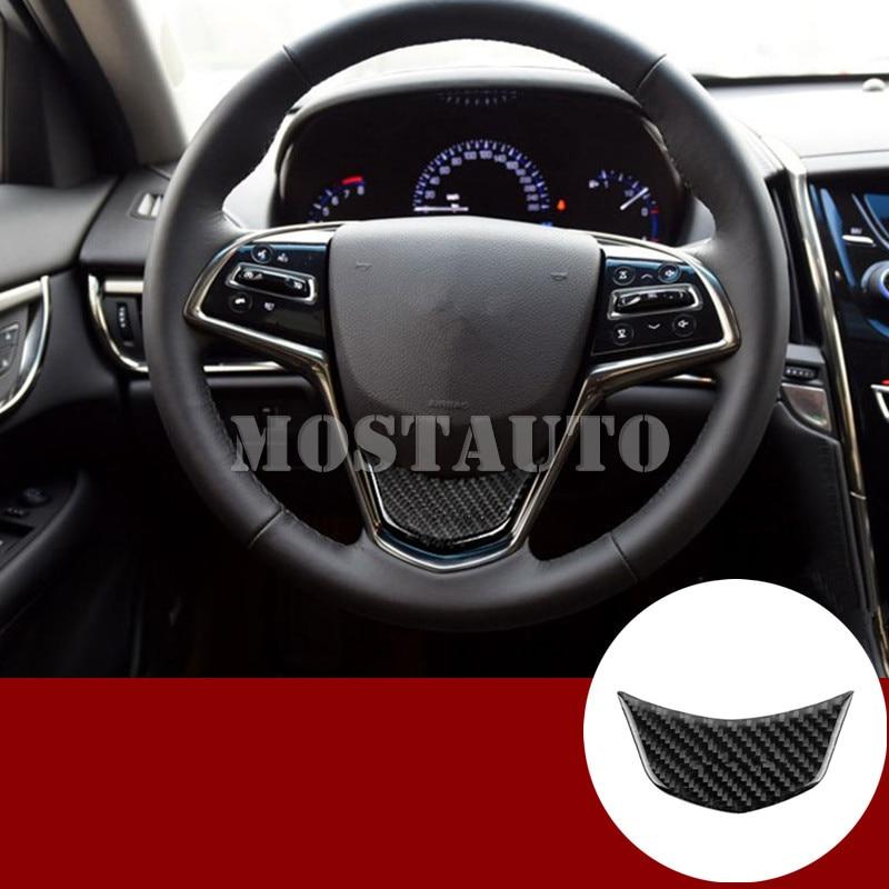 For Cadillac ATS Carbon Fiber Interior Steering Wheel Trim